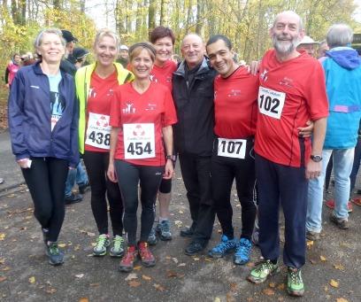 Le groupe des 6 coureurs du FMAC au Cross des Douanes
