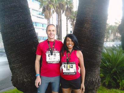 Aïcha et Jean-Marc au marathon Nice-Cannes