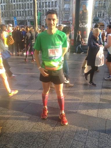 Didier Birtel au départ du Marathon de Paris