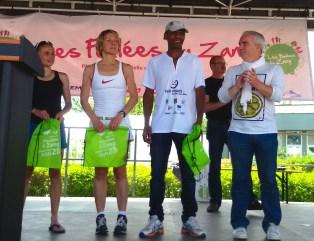 Le podium scratch avec Nathalie Da Ponte, Anne Hoy et Abdel Tayss