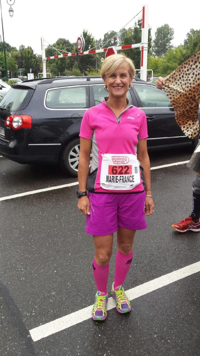 Marie au départ du Marathon du Vignoble d'Alsace
