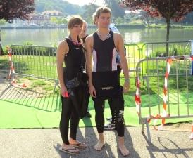 Pauline et Joan au départ du Triathlon de Creutzwald